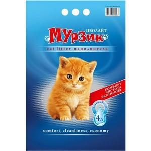 Наполнитель Мурзик Цеолайт впитывающий силикагель для кошек 4л