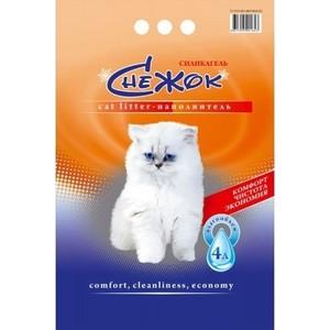 Наполнитель Снежок Силикагель впитывающий силикагель для кошек 4л
