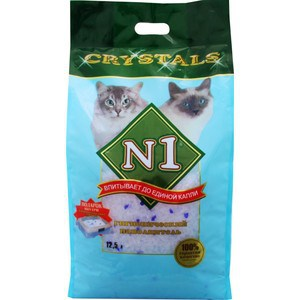 Наполнитель N1 Crystals впитывающий силикагель для кошек 12,5л (92205Н) наполнитель n1 crystals впитывающий силикагель для кошек 30л 92208