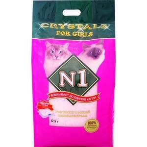 Наполнитель N1 Crystals For Girls впитывающий силикагель для кошек 12,5л (92214)/236580