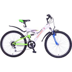 Top Gear Велосипед 24 Neon 120, 18 скоростей, матовые цвета белый/синий/зеленый (ВН24120) rivertoys велосипед электромотоцикл 2в1 o777oo белый зеленый красный оранжевый синий