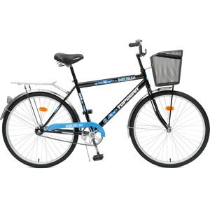 Top Gear Велосипед 26 Delta 50, 1 скорость, черный/синий, стальная корзина, звонок (ВН26247К)