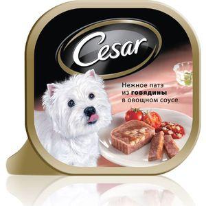 Консервы Cesar нежное патэ из говядины в овощном соусе для собак мелких пород 100г (10083322) chewell лакомство для собак всех пород куриные дольки нежные уп 100г