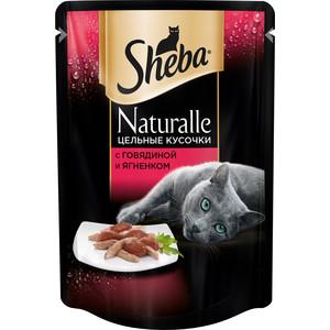 Паучи Sheba Naturalle кусочки с говядиной и ягненком для кошек 80г (10157755) sheba appetito ломтики в желе с говядиной и кроликом для кошек 85г 10161708