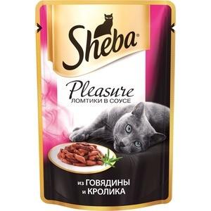 Паучи Sheba Pleasure кусочки с говядиной и кроликом для кошек 85г (10161700) sheba appetito ломтики в желе с говядиной и кроликом для кошек 85г 10161708