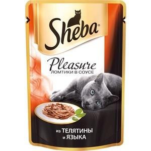 Паучи Sheba Pleasure кусочки с телятиной и языком для кошек 85г (10161701) sheba appetito ломтики в желе с говядиной и кроликом для кошек 85г 10161708
