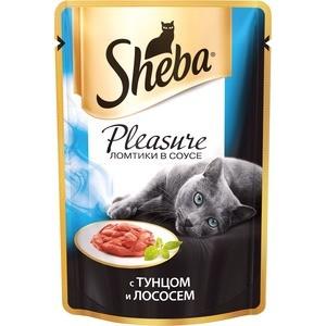 Паучи Sheba Pleasure кусочки с тунцом и лососем для кошек 85г (10161702) sheba appetito ломтики в желе с говядиной и кроликом для кошек 85г 10161708