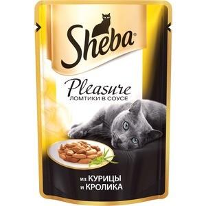 Паучи Sheba Pleasure кусочки с курицей и кроликом для кошек 85г (10161703) sheba appetito ломтики в желе с говядиной и кроликом для кошек 85г 10161708