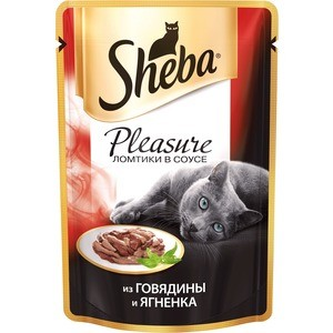 Паучи Sheba Pleasure кусочки с говядиной и ягненком для кошек 85г (10161704)