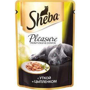 Паучи Sheba Pleasure кусочки с уткой и цыпленком для кошек 85г (10161705) sheba appetito ломтики в желе с говядиной и кроликом для кошек 85г 10161708