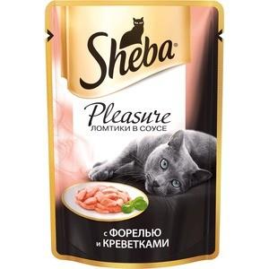 Паучи Sheba Pleasure ломтики в соусе с форелью и креветками для кошек 85г (10161706) sheba appetito ломтики в желе с говядиной и кроликом для кошек 85г 10161708
