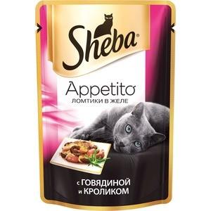 Паучи Sheba Appetito ломтики в желе с говядиной и кроликом для кошек 85г (10161708)