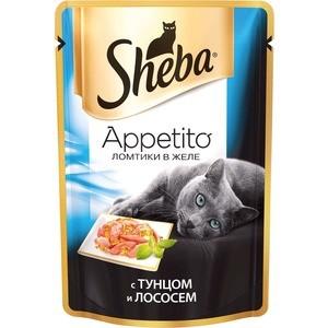 Паучи Sheba Appetito ломтики в желе с тунцом и лососем для кошек 85г (10161711) sheba appetito ломтики в желе с говядиной и кроликом для кошек 85г 10161708