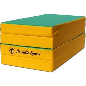 Мат PERFETTO SPORT № 5 (100 х 200 х 10) складной 3 сложения зелёно/жёлтый (0403) мат perfetto sport 5 100 х 200 х 10 складной 3 сложения красно жёлтый
