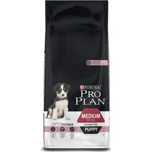 Сухой корм PRO PLAN OPTIDERMA Sensitive Skin Puppy Medium с лососем и рисом для щенков средних пород с чувствительной кожей 12кг (12272433)