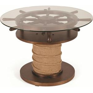 Стол журнальный Мебелик Штурвал тёмно-коричневый/прозрачное стол журнальный мебелик миледи тёмно коричневый