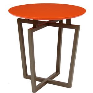 Стол журнальный Мебелик Рилле 440 темн. кофе/оранжевый кругл.