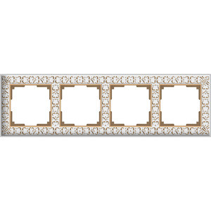 Рамка Werkel Antik на 4 поста белое золото WL07-Frame-01