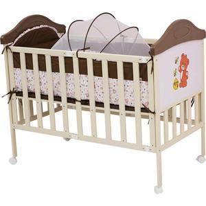 цены  Кроватка BabyHit Sleepy compact Коричневый с бежевым, с медвежонком на торце (SLEEPY COMPACT COFFEE)