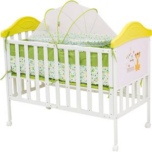 Кроватка BabyHit Sleepy compact Белый с зелёным, с тигрёнком на торце (SLEEPY COMPACT GREEN) пледы sleepy плед