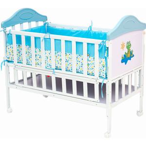 Кроватка BabyHit Sleepy Белый с голубым, с динозавриком на торце (SLEEPY BLUE) babyhit cube linen blue