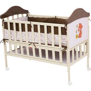 Кроватка BabyHit Sleepy Коричневый с бежевым, с медвежонком на торце (SLEEPY COFFEE) плед sleepy year с рукавами норвежский узор