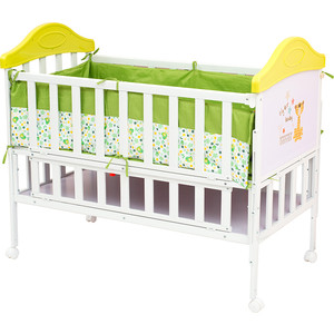 Кроватка BabyHit Sleepy Белый с зелёным, с тигрёнком на торце (SLEEPY GREEN) babyhit drive black green