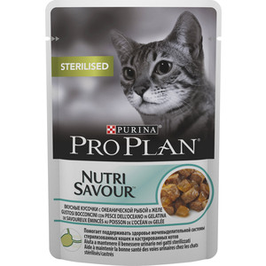 Паучи PRO PLAN Nutri Savour Sterilised Cat Chunks with Ocean Fish in Jelly кусочки в желе с рыбой для стерилизованных кошек 85г (12287097)