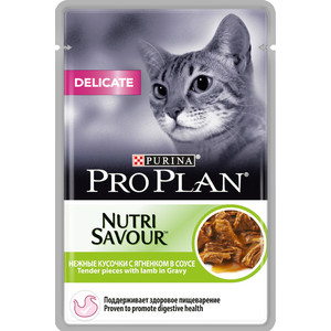 Паучи PRO PLAN Nutri Savour Delicate Cat Pieces with Lamb in Gravy кусочки в соусе с ягненком здоровое пищеварение для кошек 85г (12305655) delicate noctilucence hollow out geometric shape pendant necklace