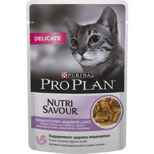 Паучи PRO PLAN Nutri Savour Delicate Cat Pieces with Turkey in Gravy кусочки в соусе с индейкой здоровое пищеварение для кошек 85г (12249431) excellent quality simple modern stools fashion fabric stool home sofa ottomans solid wood fine workmanship chair furniture