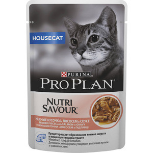 Паучи PRO PLAN Nutri Savour House Cat Pieces with Salmon in Gravy кусочки в соусе с лососем для домашних кошек 85г (12249425) torday p salmon fishing in the yemen film tie in