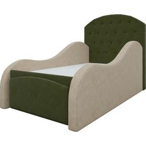 Детская кровать АртМебель Майя микровельвет зелено-бежевый детская кровать мебелико детская кровать майя