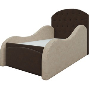 Детская кровать АртМебель Майя микровельвет коричнево-бежевый детская кровать мебелико детская кровать майя