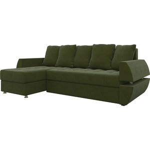 Диван угловой АртМебель Атлант УТ микровельвет зеленый левый диван угловой артмебель атлант ут микровельвет коричн левый