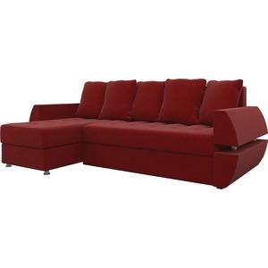 Диван угловой АртМебель Атлант УТ микровельвет красный левый диван угловой артмебель атлант ут микровельвет коричн левый