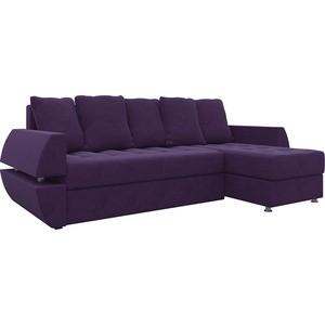 Диван угловой АртМебель Атлант УТ микровельвет фиолетов правый диван еврокнижка артмебель атлант т микровельвет черно фиолетов