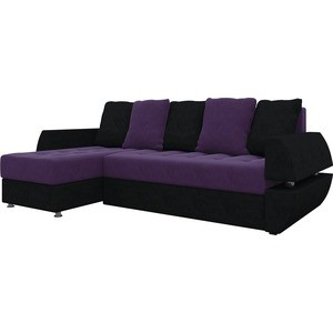 Диван угловой АртМебель Атлант УТ микровельвет фиолетово-черн левый диван угловой артмебель атлант ут микровельвет фиолетов левый