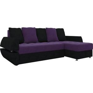 Диван угловой АртМебель Атлант УТ микровельвет фиолетово-черн правый