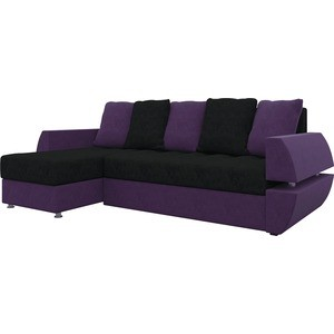 Диван угловой АртМебель Атлант УТ микровельвет черно-фиолетов левый диван еврокнижка артмебель атлант т микровельвет черно фиолетов