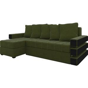 Диван угловой АртМебель Венеция микровельвет зеленый левый угловой диван артмебель андора ткань левый