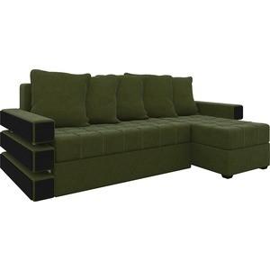 Диван угловой АртМебель Венеция микровельвет зеленый правый угловой диван артмебель андора микровельвет коричневый правый