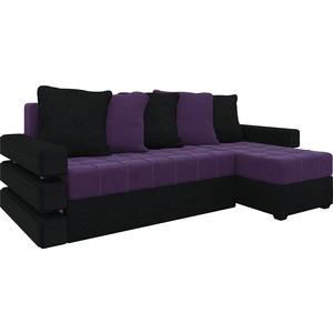 Диван угловой АртМебель Венеция микровельвет фиолетово-черн правый угловой диван артмебель юта 06 правый