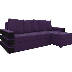 Диван угловой АртМебель Венеция микровельвет фиолетовый правый угловой диван артмебель андора микровельвет коричневый правый