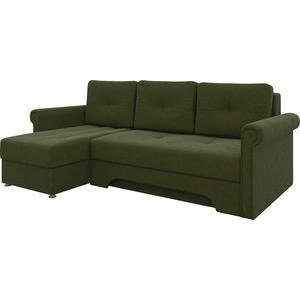 Диван угловой АртМебель Гранд микровельвет зеленый левый угловой диван артмебель андора ткань левый