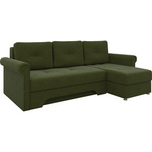 Диван угловой АртМебель Гранд микровельвет зеленый правый угловой диван артмебель андора микровельвет коричневый правый