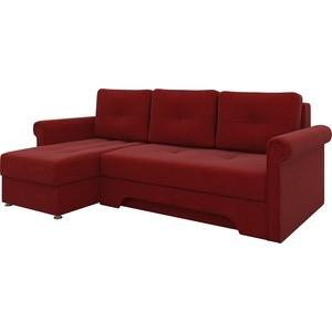 Диван угловой АртМебель Гранд микровельвет красный левый угловой диван артмебель андора ткань левый