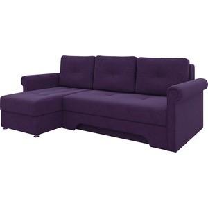 Диван угловой АртМебель Гранд микровельвет фиолетовый левый