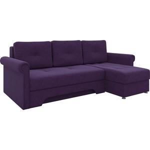 Диван угловой АртМебель Гранд микровельвет фиолетовый правый