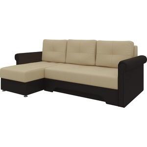 Диван угловой АртМебель Гранд эко-кожа бежево-коричн левый кресло echair 634 tr рец кожа коричн 470982 шатура oфисные кресла