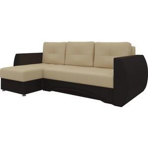 Диван угловой АртМебель Сатурн эко-кожа бежево-коричн левый кресло echair 634 tr рец кожа коричн 470982 шатура oфисные кресла